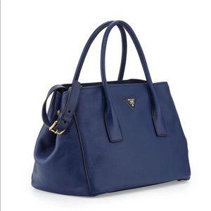 New Prada Vitello Daino Garden Tote Bag, Dark Blue